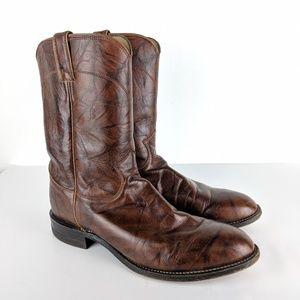 Justin Mens 3163 Cowboy Boots Chestnut Roper 10D
